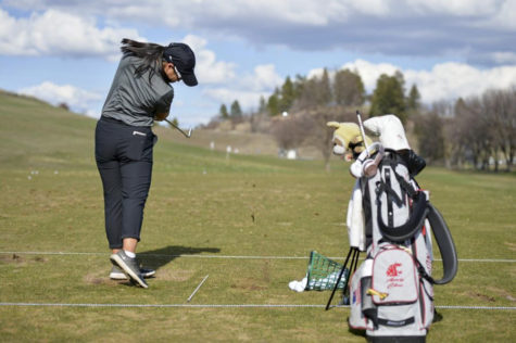 Then-freshman Amy Chu focuses hitting on range at WSU's practice facility.