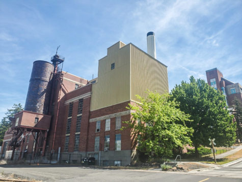 The steam plant, pictured here, is located on College Avenue on the west side of campus. It was built in 1935 and provided heat, power and light to the entire university. The plant was decommissioned in 2003 when the Grimes Way Steam Plant began operating.