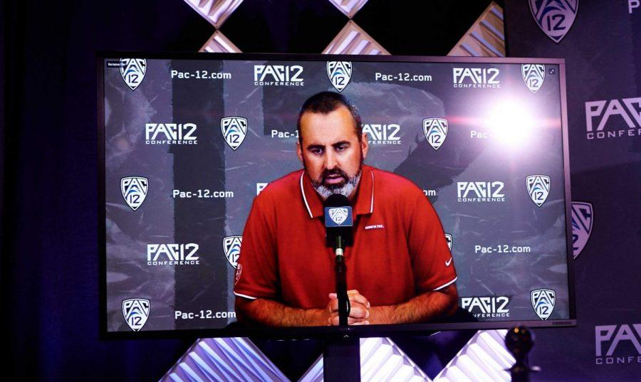 WSU Football Coach Nick Rolovich attends Pac-12 Media Day virtually.