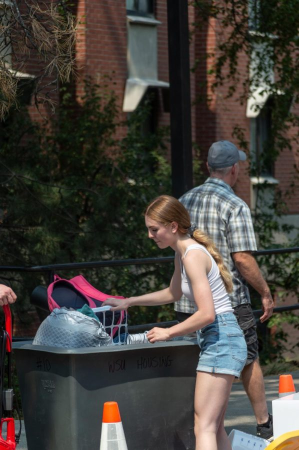 Freshman Mikayla Fristad prepares to make the trip up to her dorm room in Stephenson Complex.
