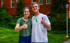 Take a guess: whos good cop and whos bad cop? News editors Tim and Emma stand in front of Murrow Hall.