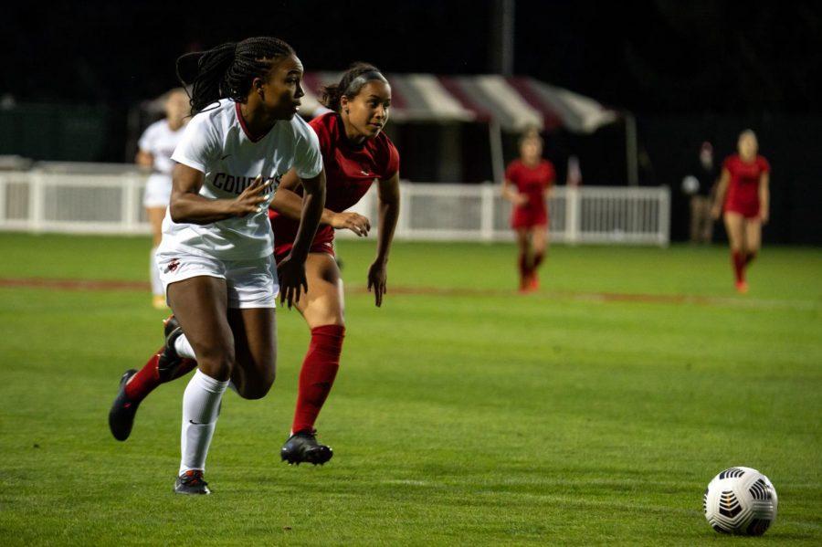WSU sophomore forward Makenna McGill plays the ball forward during Saturdays match against Eastern Washington.