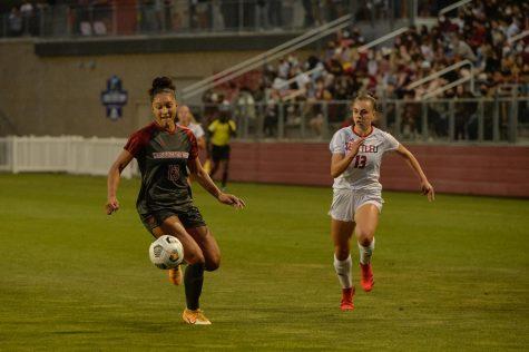 WSU forward Elyse Bennett chases the ball on Sept. 13, 2021, in the Lower Soccer Field.