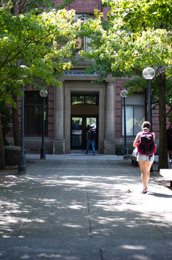 Students are heading to class at the School of Design and Construction in Carpenter Hall.