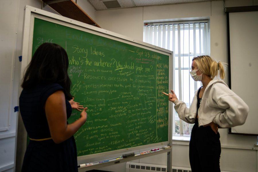 Editor-in-chief Loren Negron (left) and Managing Editor Sandi Kobiesa (right) plan for next week