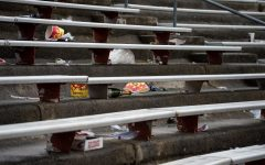 The WSU student section lies empty at the end of a college football game Sept. 18, 2021, in Pullman.