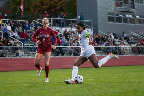 WSU midfielder Sydney Pulver tries to stop Stanford midfielder Naomi Girma's attack on Oct. 7 at the Lower Soccer Field in Pullman.