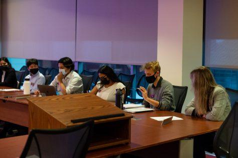 ASWSU Senator Nikolai Sublett speaks during a senate meeting Wednesday evening in the Compton Union Building.