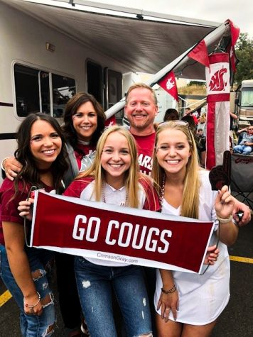 The Waage family is  pictured here tailgating before a WSU football game, which the family did often when their daughters were growing up.